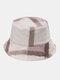Women & Men Rabbit Fur Plaid Pattern Plus Thicken Warm Windproof Soft All-match Travel Bucket Hat - Light Pink