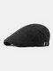 पुरुषों के कपास Plus सिर परिधि एडजस्टेबल आरामदायक फ्लैट टोपी आगे टोपी टोपी टोपी - काली