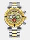 Multifunctional Men Business Watch Luminous Chronograph Calendar Quartz Watch - Gold Dial Between Gold Band
