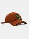 ユニセックスコットンブロークンホールレター漫画スマイルフェイス刺繡布ラベルオールマッチ日焼け止め野球帽 - 褐色