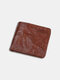Men Genuine Leather Cow Leather Old Vintage Business Money Clips Coin Wallet - Brown