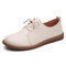 Women's Solid Color Lace Up Breathable Flat Oxfords Shoes - Beige