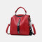 Women Genuine Leather Anti-theft Backpack Multi-function Multi-carry Bag - Wine Red