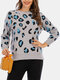 Leopard Print O-neck Casual Pullover Knitted Sweater For Women - Grey
