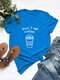 Casual Letter Print Solid Color Rolled Sleeve Plus Size T-shirt - Blue