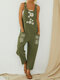 Daisy Flower Print Straps Pockets Casual Jumpsuit For Women - Green
