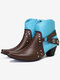 Plus Size Buckle Strap Decoration Slip Resistant Chunky Heel Ankle Boots - Blue