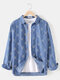 Mens Cotton Ethnic Print Faux Denim Casual Long Sleeve Shirts With Pocket - Blue