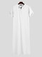 Mens Casual Long Tops Pure Color Short Sleeve Loungewear Robe - White
