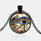 Eye Of Horus Gem Pendant Necklace Adjustable Metal Chain Round Glass Women Necklace Jewelry Gifts - Black