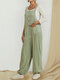 Solid Color Sleeveless Elastic Cuff Button Jumpsuit With Pocket - Green
