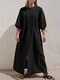 Solid Color Half Sleeves Front Slit Casual Maxi Dress - Black