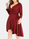 Solid Color Pleated High-low Hem V-neck Long Sleeve Plus Size Shirred Dress - Wine Red