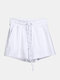 Women Pure Cotton Linen Drawstring Shorts With Pockets Breathable Outdoors Home Loungewear Bottoms - White