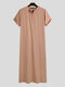 Mens Casual Long Tops Pure Color Short Sleeve Loungewear Robe - Pink