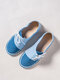 LOSTIST Large Size Women Casual Soft Splicing Lace Up Flat Loafers - Blue