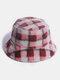Women & Men Rabbit Fur Plaid Pattern Plus Thicken Warm Windproof Soft All-match Travel Bucket Hat - Red