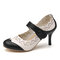 Women Flowers Pattern Hollow Out Mary Jane Pumps - Black