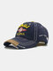 Unisex Washed Cotton Patchwork Letters Embroidery Retro Sunshade Baseball Cap - Blue