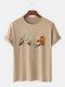 Mens 100% Cotton Flower Gesture Print Short Sleeve T-Shirt - Khaki