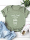 Casual Letter Print Solid Color Rolled Sleeve Plus Size T-shirt - Army
