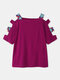 Hollow Off Shoulder Short Sleeve Casual T-Shirt For Women - Rose
