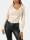 Solid Color Long Sleeve Casual Blouse For Women - Beige