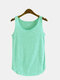 Solid Color O-neck Sleeveless Casual Tank Top For Women - Green