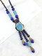 سيراميك أشابة خمر العرقية سلسلة طويلة سترة قلادة الملابس قلادة - أزرق