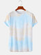 Mens Tie Dye Print Casual Breathable & Thin O-Neck T-Shirts - Yellow