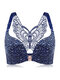 Butterfly Embroidery Front Closure Wireless Adjustable Gather Soft Bras - Navy