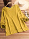 Vintage Pure Color Long Sleeve Blouse For Women