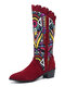 Women Casual Retro Elegant Geometric Pattern National Style Mid-Calf Boots - Red