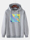 Mens Helping Hand Graphic Drop Sleeve Cotton Casual Drawstring Hoodies - Gray