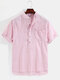 Mens Pinstripe High Low Split Casual Cotton Short Sleeve Henley Shirts - Red