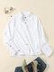Blusa de botones de manga larga con solapa sólida para Mujer - Blanco