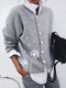 Flower Print Long Sleeve Button Casual Cardigan For Women - Gray