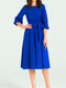 Solid Color O-neck Plus Size Casual Dress for Women - Blue