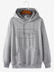 Mens 100% Cotton Helping Hand Graphic Print Drop Sleeve Drawstring Hoodies - Grey