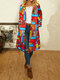 Vintage Printed Long Sleeve Turn-down Collar Coat For Women - Red
