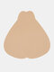 Women Solid Teardrop-Shaped Push Up Strapless Nonwoven Cloth Sticky Bra - Nude