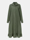 Solid Color Lapel Collar Long Sleeve Button Ruffled Hem Casual Dress For Women - Green