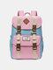 Women Waterproof Patchwork Large Capacity Travel Backpack School Bag - Blue