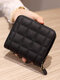 Women PU Leather Quilted Bag Money Clips Multi-card Slots Coin Purse Wallet - Black