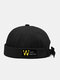 Unisex Cotton Solid Color Letter Pattern Patch Fashion Sunshade Crimping Brimless Beanie Landlord Cap Skull Cap - Black