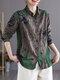 Blusa Botón de manga larga con solapa de color en contraste con estampado floral vendimia - Verde