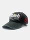 ユニセックスウォッシュドコットンパッチワーク破損文字番号刺繡ファッション野球帽 - 黒