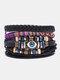 4個の多層レザーメンズブレスレットセット手織りツリーレターレディースビーズブレスレット - #10