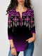 Ethnic Pattern Print Button Casual T-Shirt For Women - Purple