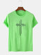 Mens 100% Cotton Printed Breathable Casual O-Neck Short Sleeve T-shirts - Green
